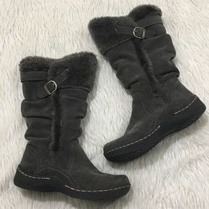 Bare traps gray leather winter boots